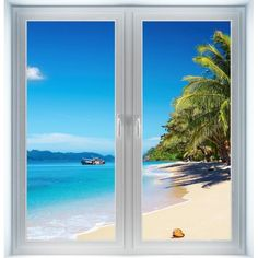 Tropical Wall Murals | Tropical Beach Instant Window | Wall Murals Canada, Vinyl Wall Decals ...