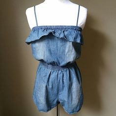 adorable chambray romper Elastic waistband.  Adjustable straps. Good condition. Mossimo Supply Co. Dresses