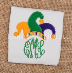 Mardi Gras Jester Hat Script Monogram Applique Shirt or Bodysuit New Orleans Mardi Gras Shirt