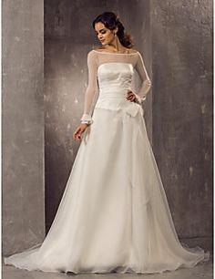 A-line Off-the-shoulder Court Train Organza Wedding Dress(63... – USD $ 149.99