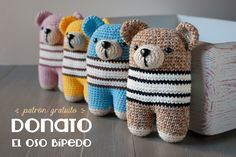 Two-Legged Bear By Lanukas - Free Crochet Pattern - See http://3.bp.blogspot.com/-eW_82btHTkw/VQx40DwPTGI/AAAAAAAAF20/tqXBv75zpWE/s1600/Lanukas_osoDonato_freepattern.jpg For English PDF Pattern - (lanukas)