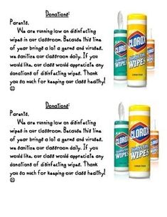 Disinfecting wipe donation letter to parents. Parent Letters From Teachers, Parents As Teachers, Notes To Parents, Letter To Parents, Parent Notes, Clorox Wipes, Disinfecting Wipes, Teacher Organization, Teacher Hacks