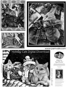 Holiday Cats Digital Download Grayscale Coloring Sheets By PamVale