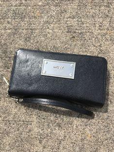 DKNY New York Double Zipper Around Black Leather Wallet Wristlet Organizer Bag    eBay