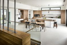 ​​​​​​​This quintessential modern kitchen by interior architect and kitchen designer Nadia Clark of Riverstone Custom Homes combines a playful sensibility with a family friendly layout that is also ideal for entertaining. Timber Wall Panels, Timber Walls, Timber Flooring, Interior Design Programs, Home Interior Design, Interior Ideas, Birch Cabinets, Cupboards, Oak Cupboard
