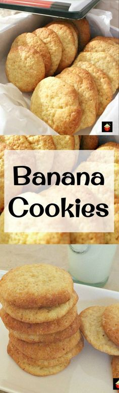 Banana cookies - Banana Drop Cookies Theses are a light fluffy cookie and great for using up those overripe bananas! Easy recipe too! Lovefoodies com Drop Cookies, Yummy Cookies, Healthy Banana Cookies, Healthy Cookies For Kids, Peanut Butter Banana Cookies, Cookies Light, Apple Pie Cookies, Cheesecake Cookies, Baking Cookies