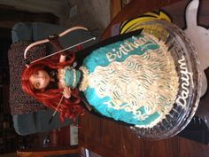 """""""Brave"""" cake with Princess Merida doll from The Disneystore."""
