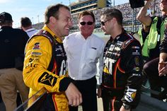 Ryan Newman, driver of the #31 Caterpillar Chevrolet, speaks with team owner Richard Childress and crew chief Luke Lambert before the NASCAR Sprint Cup Series Ford EcoBoost 400 at Homestead-Miami Speedway on November 16, 2014 in Homestead, Florida.