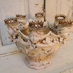 Large cherub footed bowl shabby French inspired white gold distressed piece six cherubs with handmade crowns home decor anita spero