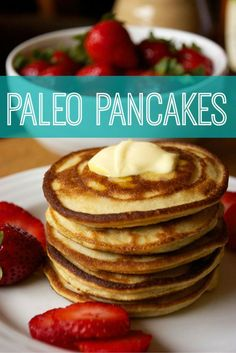 Paleo Pancakes! Almond and coconut flour.  Light, airy, delicious!