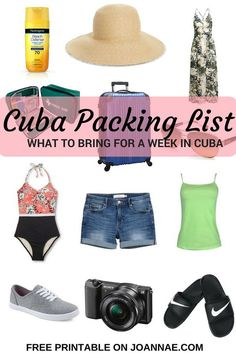 Free Printable of essentials to bring for a trip to Cuba. Travel in North America.