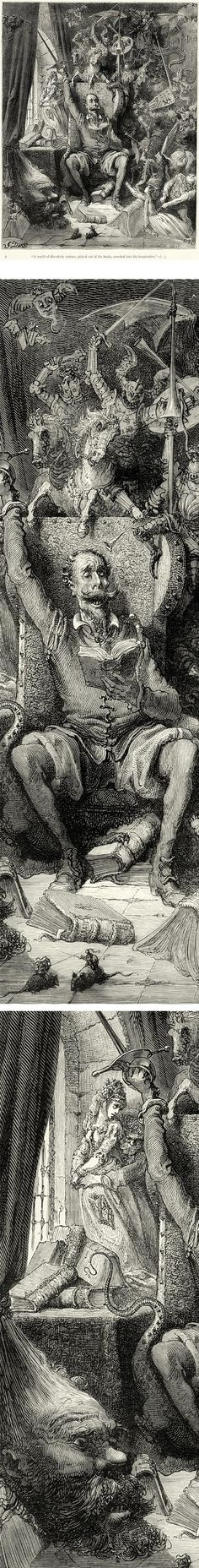 Miguel de Cervantes - Don Qixote, plate 1: A world of disorderly notions, picked out of his books, crowded into his imagination, Gustave Dore