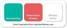Stampin' Up! Color Inspiration: Bermuda Bay, Watermelon Wonder, Whisper White
