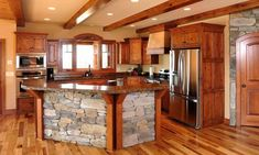 Image result for pictures of kitchens with hickory cabinets