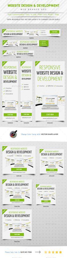 Website Design & Development Banner Ads Template PSD | #webbanners #banner | Download: http://graphicriver.net/item/website-design-development-banner-ads/10413752?ref=ksioks