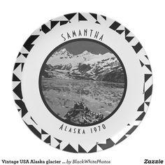 Vintage USA Alaska glacier bay national monument Melamine plate