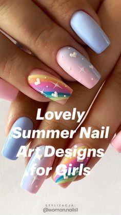 Best Acrylic Nails, Acrylic Nail Designs, Gel Nail Polish Designs, Teen Nail Designs, Unique Nail Designs, Rainbow Nail Art Designs, Beach Nail Designs, Fingernail Designs, Almond Nails Designs