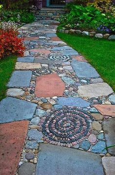Best 125 Simple Rock Walkway Ideas For Your Garden . - Best 125 simple rock walkway ideas for your garden - Rock Walkway, Mosaic Walkway, Walkway Ideas, Pebble Mosaic, Rock Mosaic, Stone Walkway, Walkway Designs, Flagstone Pathway, Rock Path
