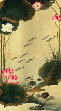 Lotus Japanese painting, Itō Jakuchū (1716-1800) Edo Period (1615-1868) 伊藤若冲 (1716-1800)
