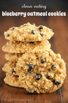 Clean-Eating Blueberry Oatmeal Cookies — these skinny cookies don't taste healthy at all! They're so soft and incredibly chewy. You'll never need another oatmeal cookie recipe again!