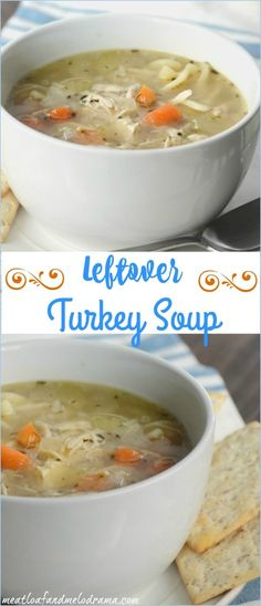 Easy Turkey Soup - Meatloaf and Melodrama Easy Leftover Turkey Soup made from turkey carcass Easy Turkey Soup, Turkey Soup From Carcass, Homemade Turkey Soup, Leftover Turkey Soup, Turkey Leftovers, Crockpot Recipes, Soup Recipes, Chicken Recipes, Cooking Recipes