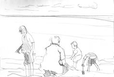 #drawingaugust people on beach. 2 min pencil sketch, 17/8/13