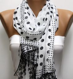 White  Scarf   Cotton Scarf Headband Necklace Cowl by fatwoman, $17.00