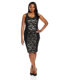 SINGLE Dress Women's Plus Size Sleeveless Sheath Lace Front Insert Black Size 2X #SingleDress #StretchKnitBodyconFitted #Cocktail