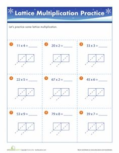Worksheet Lattice Multiplication Worksheets lattices multiplication and worksheets on pinterest winter lattice multiplication