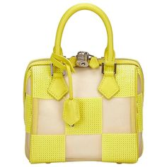 Louis Vuitton Yellow Damier Speedy Cube TPM   From a collection of rare vintage top handle bags at https://www.1stdibs.com/fashion/handbags-purses-bags/top-handle-bags/