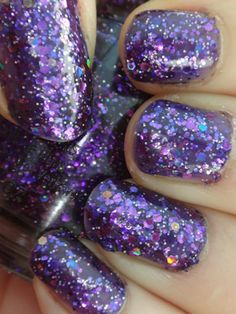 """China Glaze """"Brand Sparkin' New Year"""" - a deep violet jelly with large and medium holographic hex glitter and small purple glitter. This is 2 coats. From the Holiday 2015 Cheers! Purple Glitter, Nail Art Diy, China Glaze, Cute Nails, You Nailed It, Nail Polish, Teal, Girly, Pretty"""