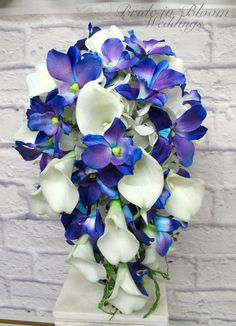 Blue orchid cascade Bouquet, Wedding bouquet brides bouquet