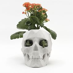 XXLarge 3D Printed Low-Poly Skull Planter in White Sandstone