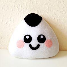 Onigiri Plush Cushion cute sushi plushie happy cushion pillow fun cuddly kawaii food home decor fleece cushion kids room rice ball soft toy Kawaii Diy, Kawaii Plush, Little Bow, Little Miss, Sushi Plush, Cute Home Decor, Pillow Sale, Bow Hair Clips, How To Make Bows