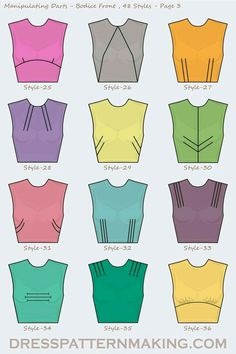 48 Styles for manipulating darts on the Bodice Front. 48 Styles for manipulating darts on the Bodice Front. Dress Sewing Patterns, Clothing Patterns, Skirt Patterns, Fabric Sewing, Coat Patterns, Blouse Patterns, Diy Clothing, Sewing Clothes, Barbie Clothes