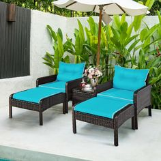 This is 5 pieces rattan furniture set, including 2 ottomans, 2 single sofas and 1 tea table with a glass top. It is made of rattan material and steel frame, which is sturdy and can serve you for a long time. Its seat cushions are really comfortable and soft. A tea table with a glass top is stable and provides you with enough storing space. This furniture set is perfect for your patio, garden, backyard, deck and other outdoor living space.