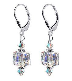 Sterling Silver 8mm Clear Cube Crystal Earrings Made with Swarovski Elements