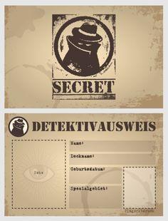 Detektivausweis ausdrucken | detektivbyrå Järn | Kinder ...