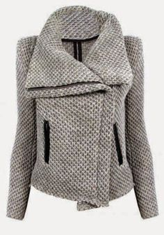 Grey Plaid Pockets Long Sleeve Casual Cotton Blend Outerwear