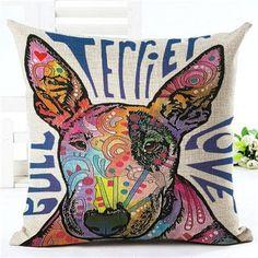 2016 Fashion Style Cute Bull Terrier Cushion Sofa Throw Pillowcase Home Decor Cojines Cotton Linen Square Printed Almofadas