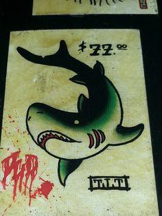 "Traditional/old school tattoo, Jeromey ""tilt"" McCulloch, shark"