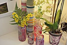 Ideas: Marbled glass bottles and glass jars