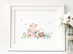 Picnic Pig  : Animal and Floral Inspired Nursery Giclee Print Illustrated by Nina Stajner