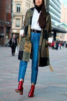 Here's some serious layering! Loving this black turtleneck with a white button up tucked in denim with a patched oversized coat. And the red boots, ugh.. obsessed!