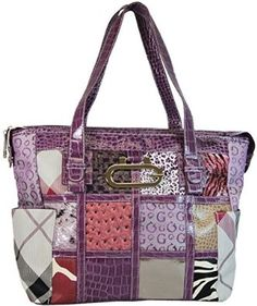 Order Now from amazon just click here. Signature G Patchwork Tote Purse with Jacquard Print Large Handbag Purple  Ye'Sir $29.99
