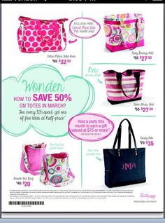 March 2014 has an awesome special!! You won't want to miss it!! I can help you get it.  Just visit me at www.thirtyone.com/dawndivine   #thirtyone