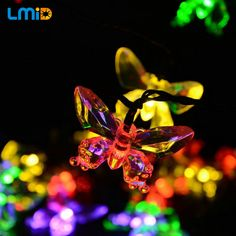 40623238c6c Solar Lamps 6M 30LEDs Colorful Butterfly Christmas Outdoor Waterproof Solar  Battery Powered LED Lights Party Holiday Decoration