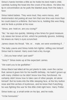 the marauders-- Sirius meeting Harry. This is super adorable and all, but am I the only one who noticed that it said that all of his pot plants had died? Harry Potter Love, James Potter, Harry Potter Universal, Harry Potter Fandom, Harry Potter World, Harry Potter Memes, Potter Facts, Fandoms, Hogwarts