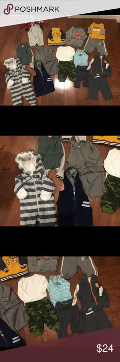 20 piece lots of boys clothes. Size 3months. 20 piece lots of boys clothes. Size 3months.  Includes a very thick soft onesie jacket. ⚠️⚠️Price is firm! If you want to save money then bundle with another item in my closet to save 15%. Also no offers on bundles! You are already getting 15% off the total which is an awesome discount! Thank you!⚠️⚠️ Carter's Matching Sets
