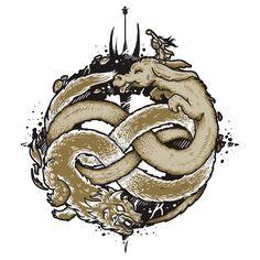 'Neverending Fight' T-Shirt by Letter-Q Fantasy Dragon, Fantasy Art, Drawing S, Art Drawings, Dragon Tatto, Story Tattoo, Auryn, The Neverending Story, Zodiac Art
